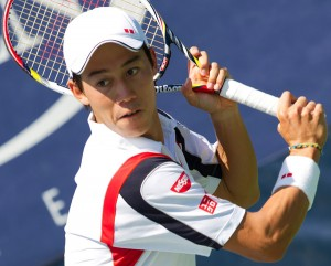 ‹ÑDŒ/Kei Nishikori (JPN), AUGUST 30, 2012 - Tennis : Kei Nishikori of Japan in action during the men's singles second round match of the U.S. Open tennis championship at USTA Billie Jean King National Tennis Cente in New York, United States. (Photo by AFLO)